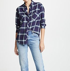 NWT Rails Leo Flannel Plaid Shirt Violet Sz XS
